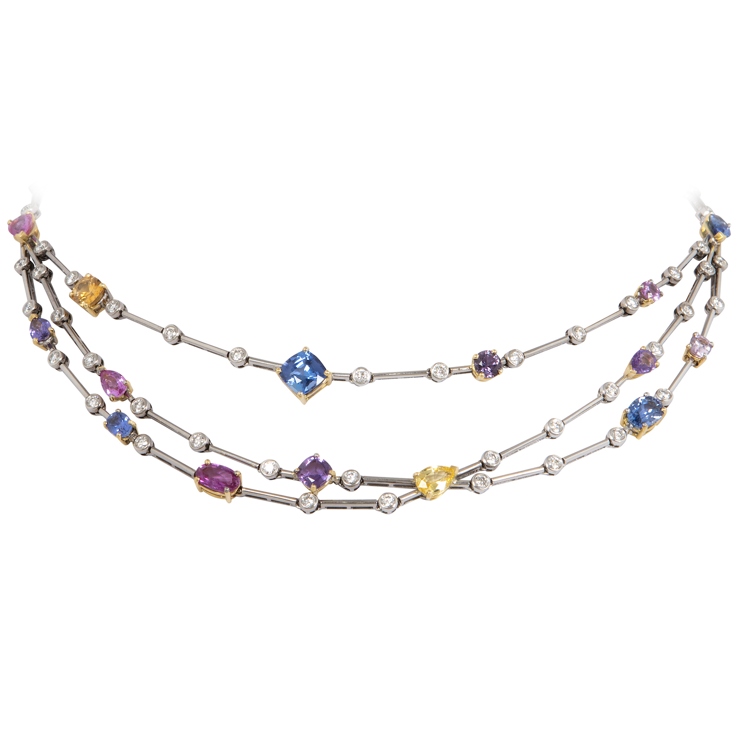 A necklace composed of multi coloured sapphires and diamonds set in white gold.