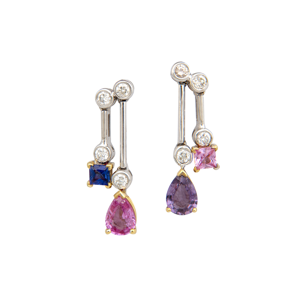 Blue, pink and purple sapphire earrings.