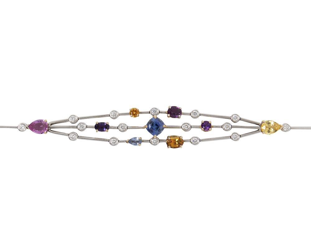 Detail of the multi coloured sapphire bracelet.