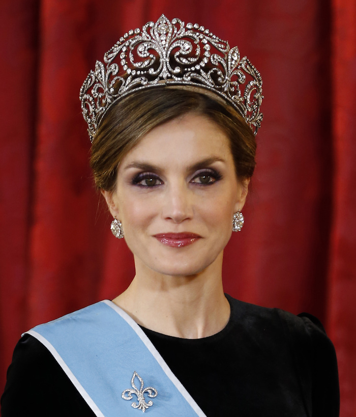 Queen Letizia of Spain, looking almost top heavy in her Ansorena diamond tiara.