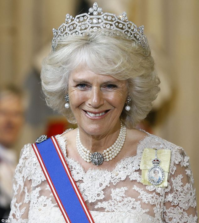 An immaculately groomed Duchess of Cornwall wearing the Greville Boucheron tiara.