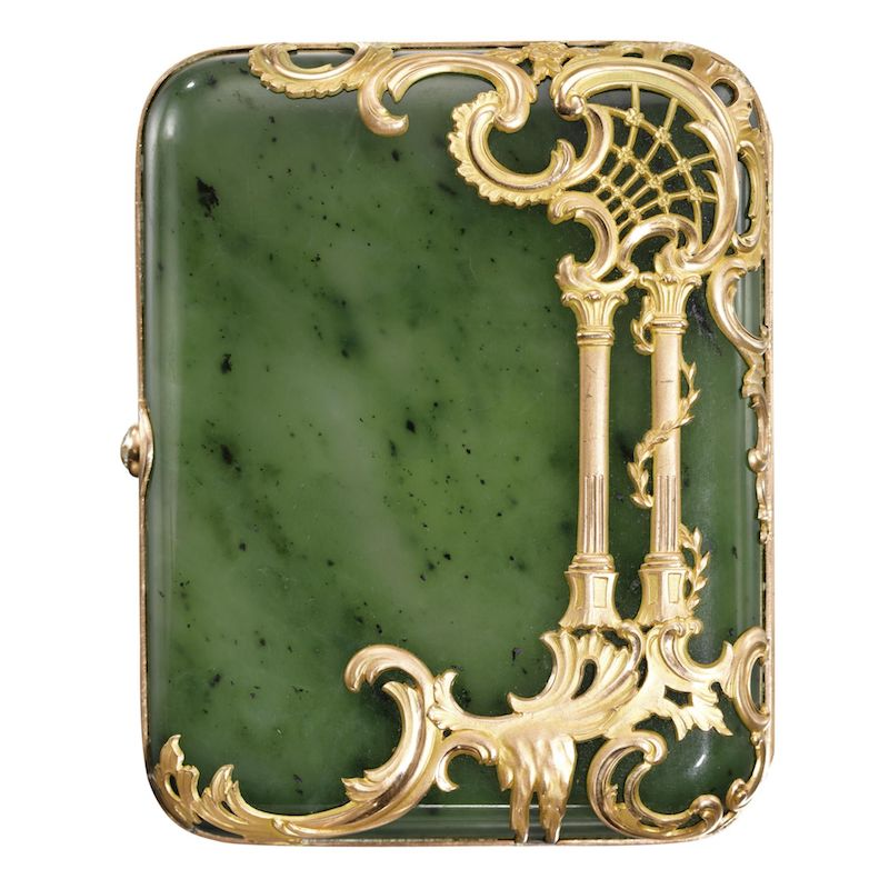 Gold and jade cigarette case by Faberge.  The technique of overlaying precious metal over the surface of semi precious material has inspired much of my work.