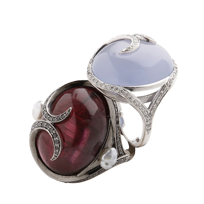 Two ring: the same design, different materials. On the left, rubellite and black diamonds, on the right chalcedony and diamonds. Inspired by Faberge.