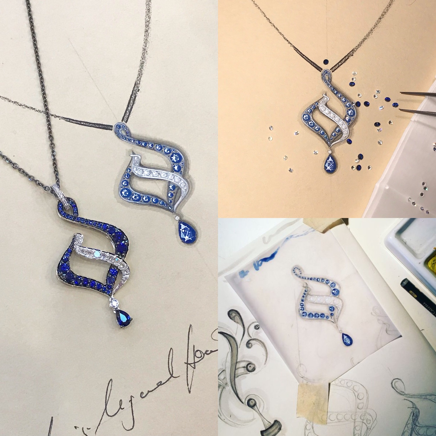 The various stages in jewellery design, in this case the 'Blue Flame' pendant. Seen here, the rough working sketch, matching the stones to the design and the finished piece next to its working drawing.