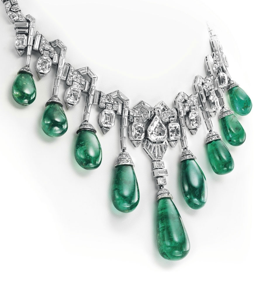 The Art Deco necklace unveiled by Van Cleef and Arpels in 1929; I find the similarity of these emeralds to the drops in the original Vladimir necklace remarkable.