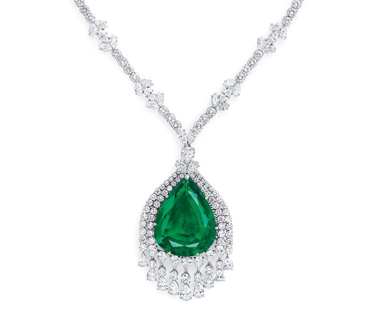 A necklace auctioned by Christie's in May 2019, set with a 75.63 carat pear cut emerald once owned by the Grand Duchess Vladimir of Russia.