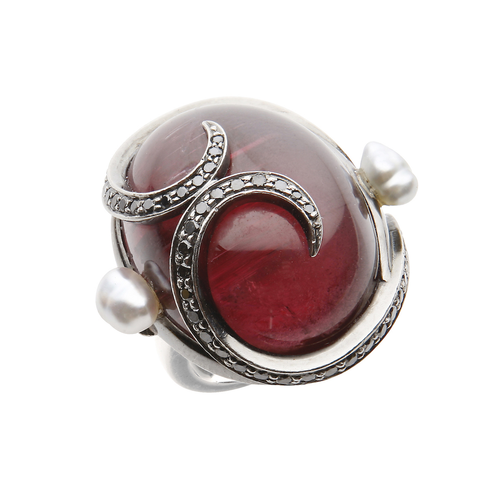 Rubellite, black diamond and pearl ring in black gold.