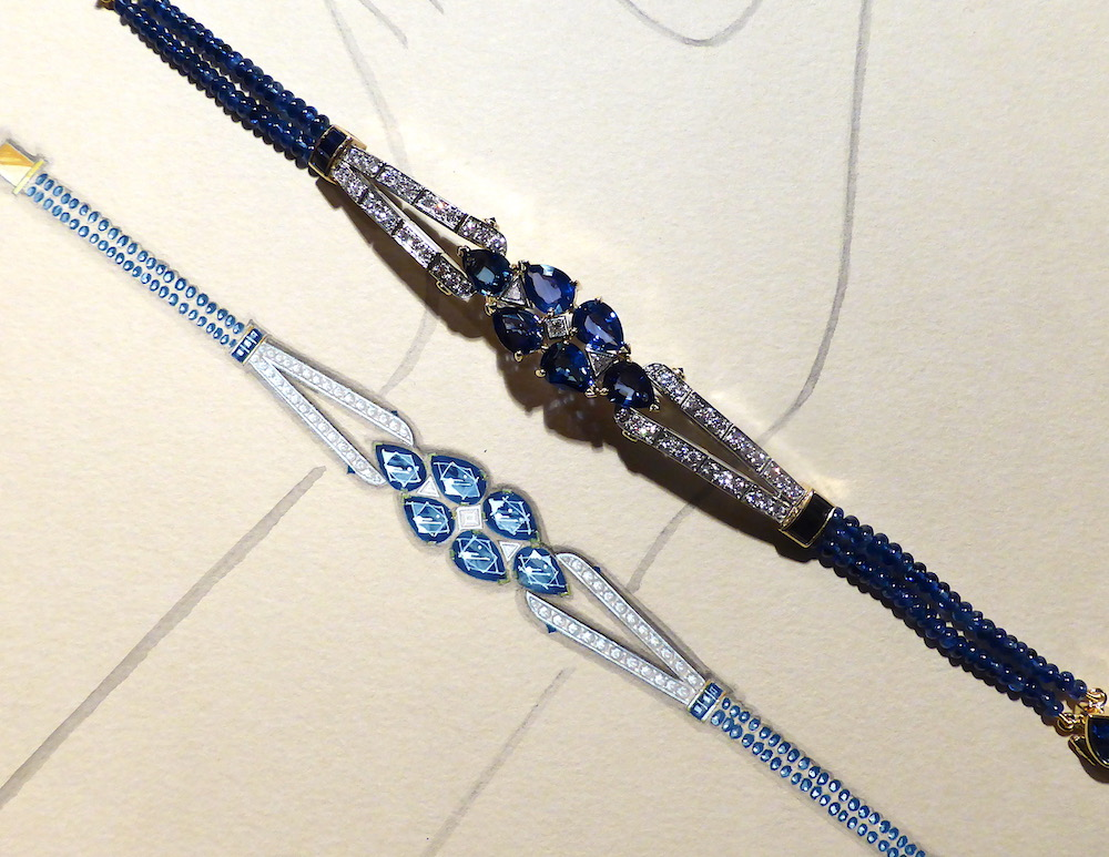 The sapphire and diamond bracelet shown next to its original working drawing in gouache and Chinese ink