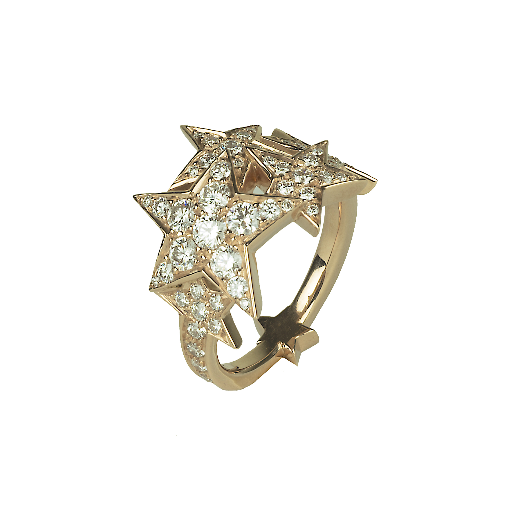 Starburst ring in rose gold and diamonds.