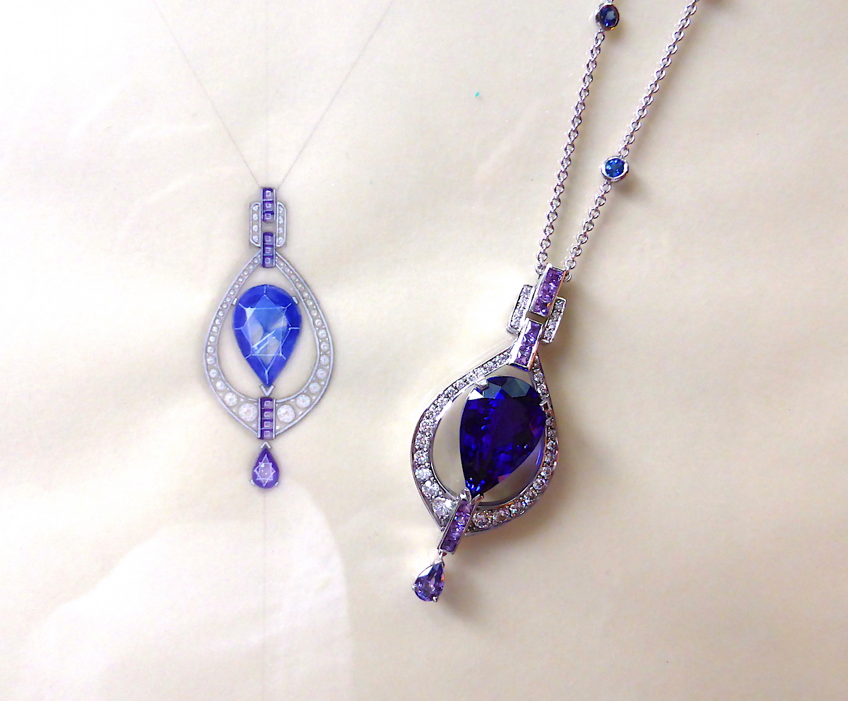 The tanzanite necklace, inspired by Art Deco, shown with its original working drawing.