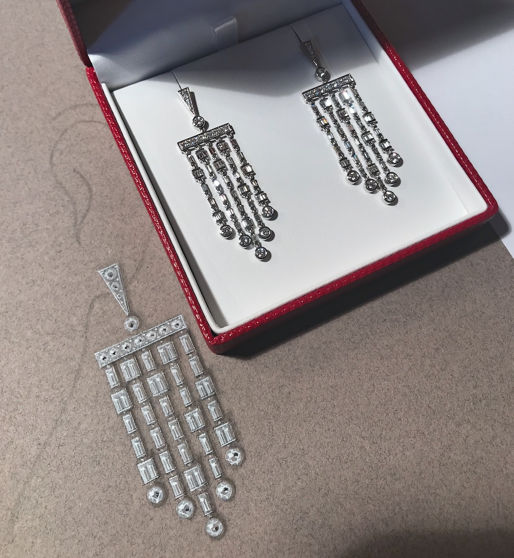 The diamond fringe earrings with their render in white gouache and ink.