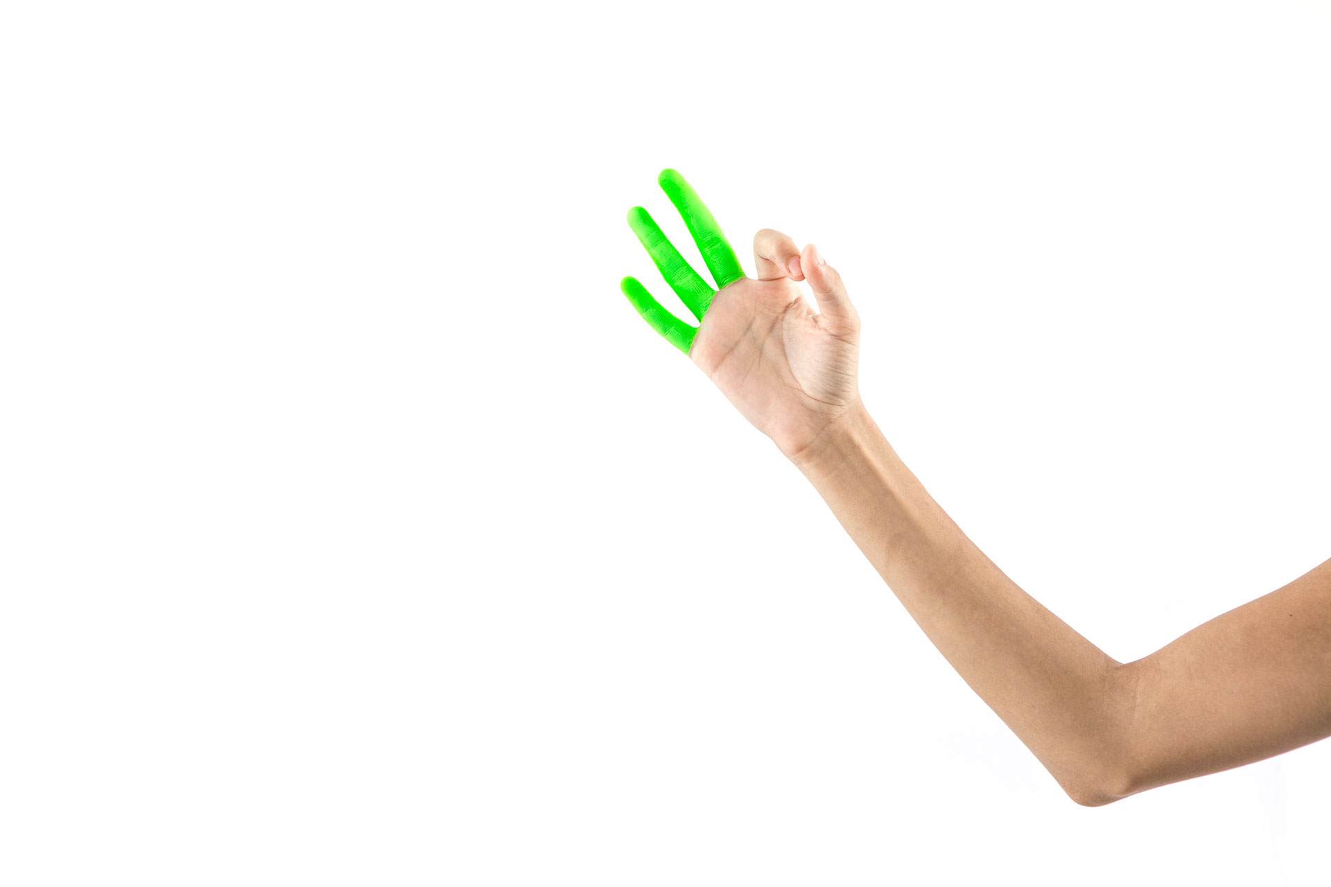 Must have leverage.  Middle, ring & pinky fingers up, while index and thumb form circle.