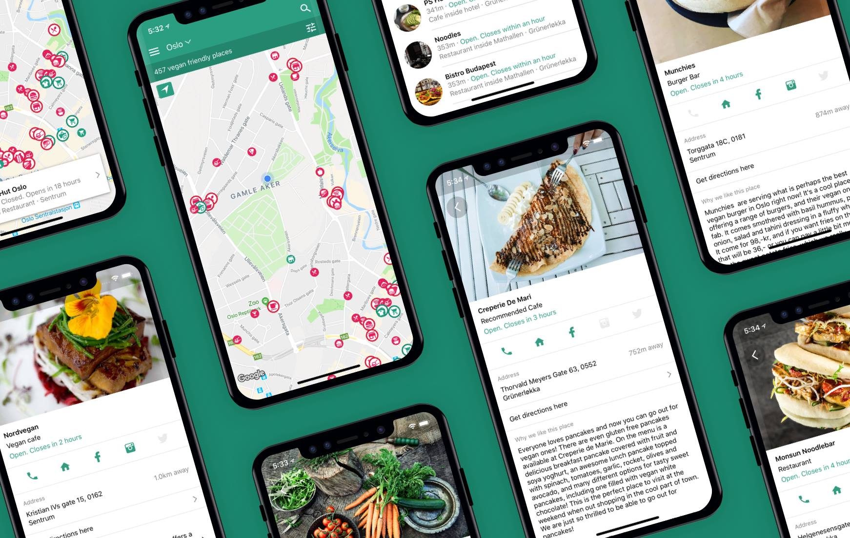 The Vegan Norway app, Download it on  iOS  and  Android