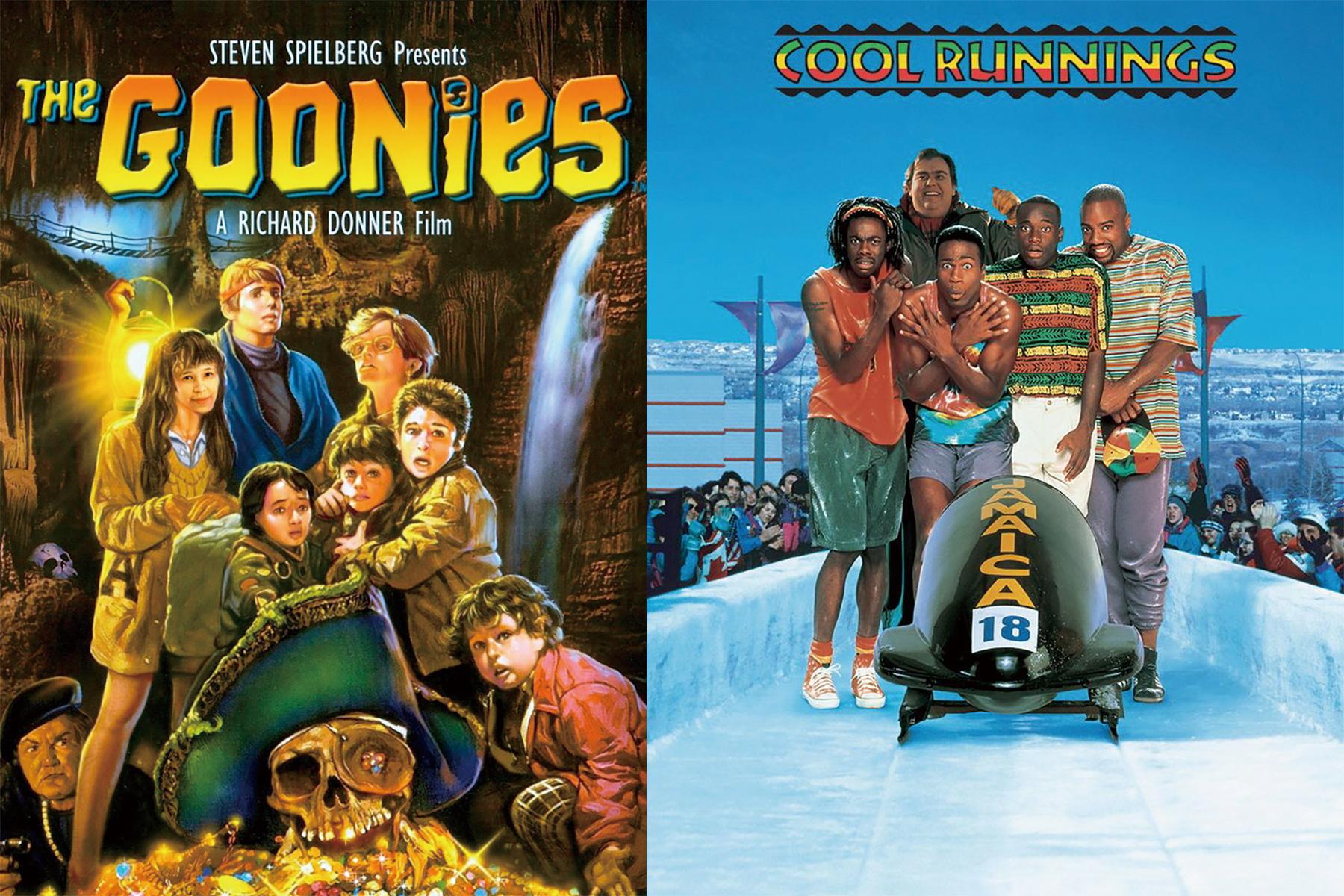 1985年上映的《七寶奇謀》(左)是80年代經典青少年冒險喜劇,是7歲的有坂塁第一次進戲院看的電影,再次進入電影院,真人實事改編的運動勵志片《癲瘋總動員》讓他再次領悟電影的美好。(圖片來源:Amazon)