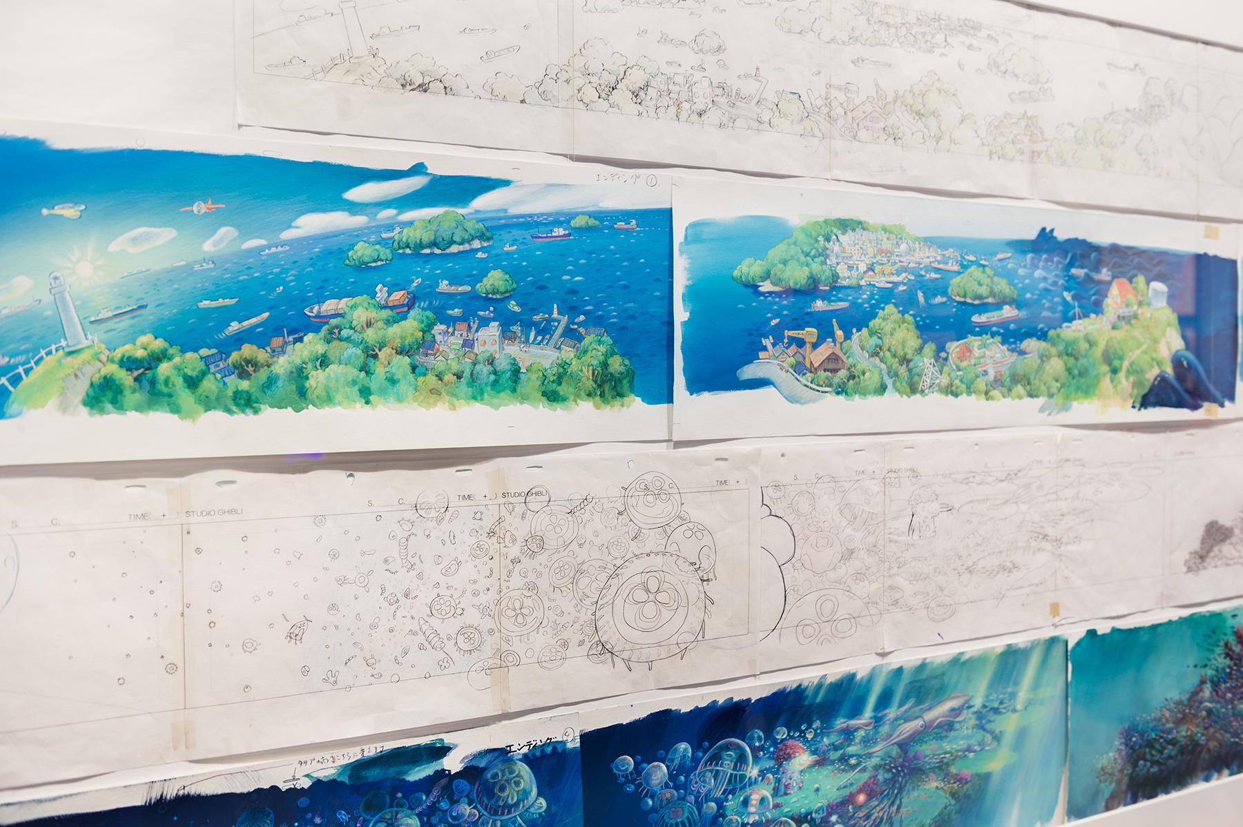 電影《崖上的波妞》構圖與原畫對照圖。