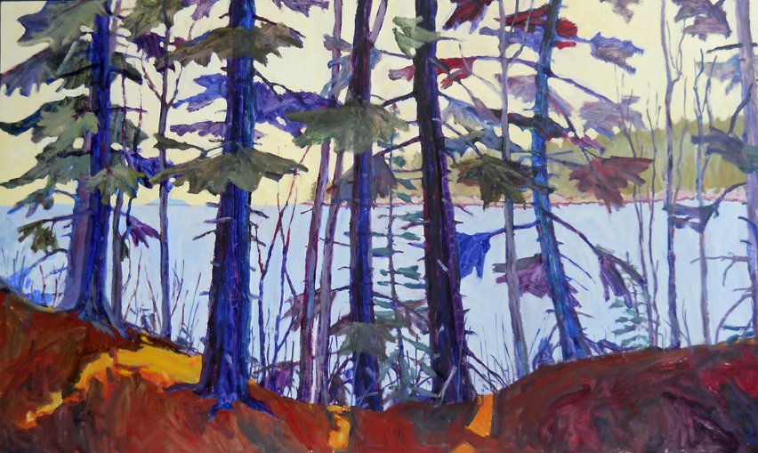 """Andrea Peters """"Beyond the Trees"""" oil 24 x 40 inches"""