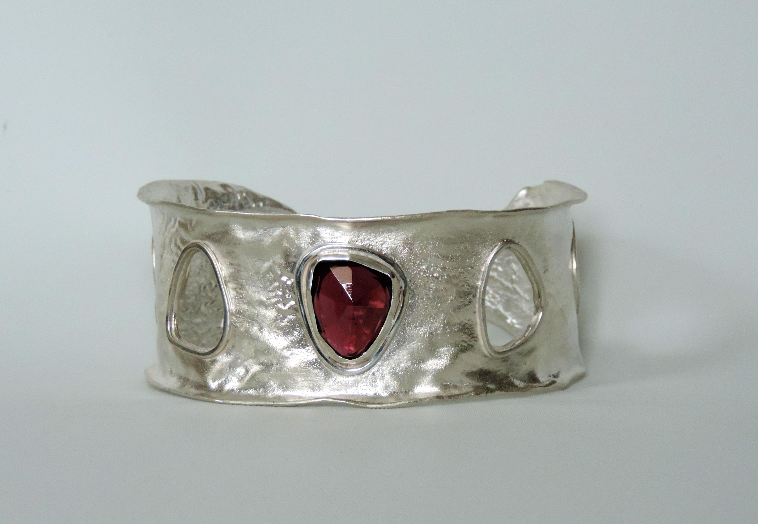 Christine Peters Reticulated Silver Cuff with Rhodolite Garnet