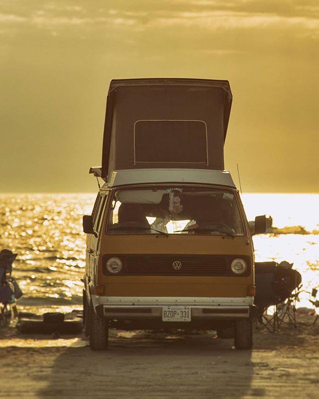 VW a beautiful sunset. @saublebeach #saublebeach #vw #classiccars @vwcanada @vwusa