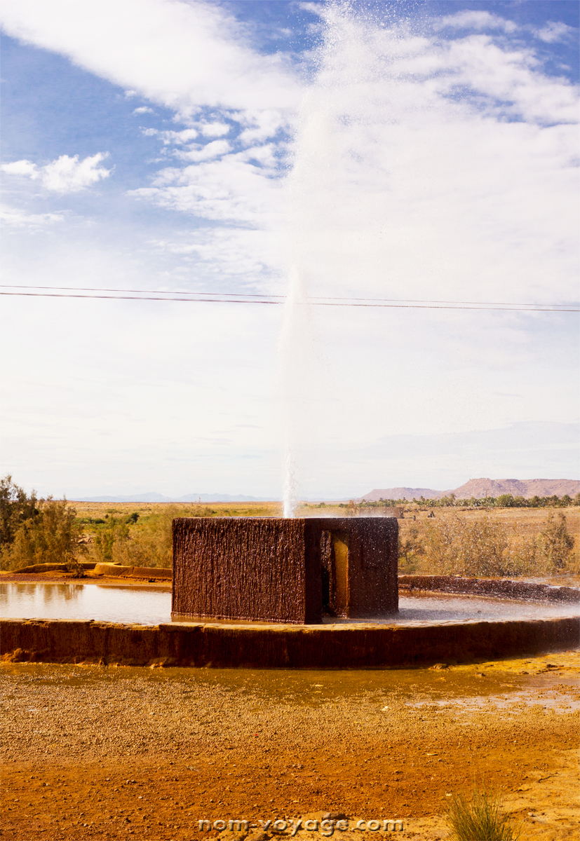 """Adil said he wanted to show us some """"water"""" and took us to this amazing geyser that just happened to be on the side of the road. It was awesome and there was an adorable donkey nearby."""