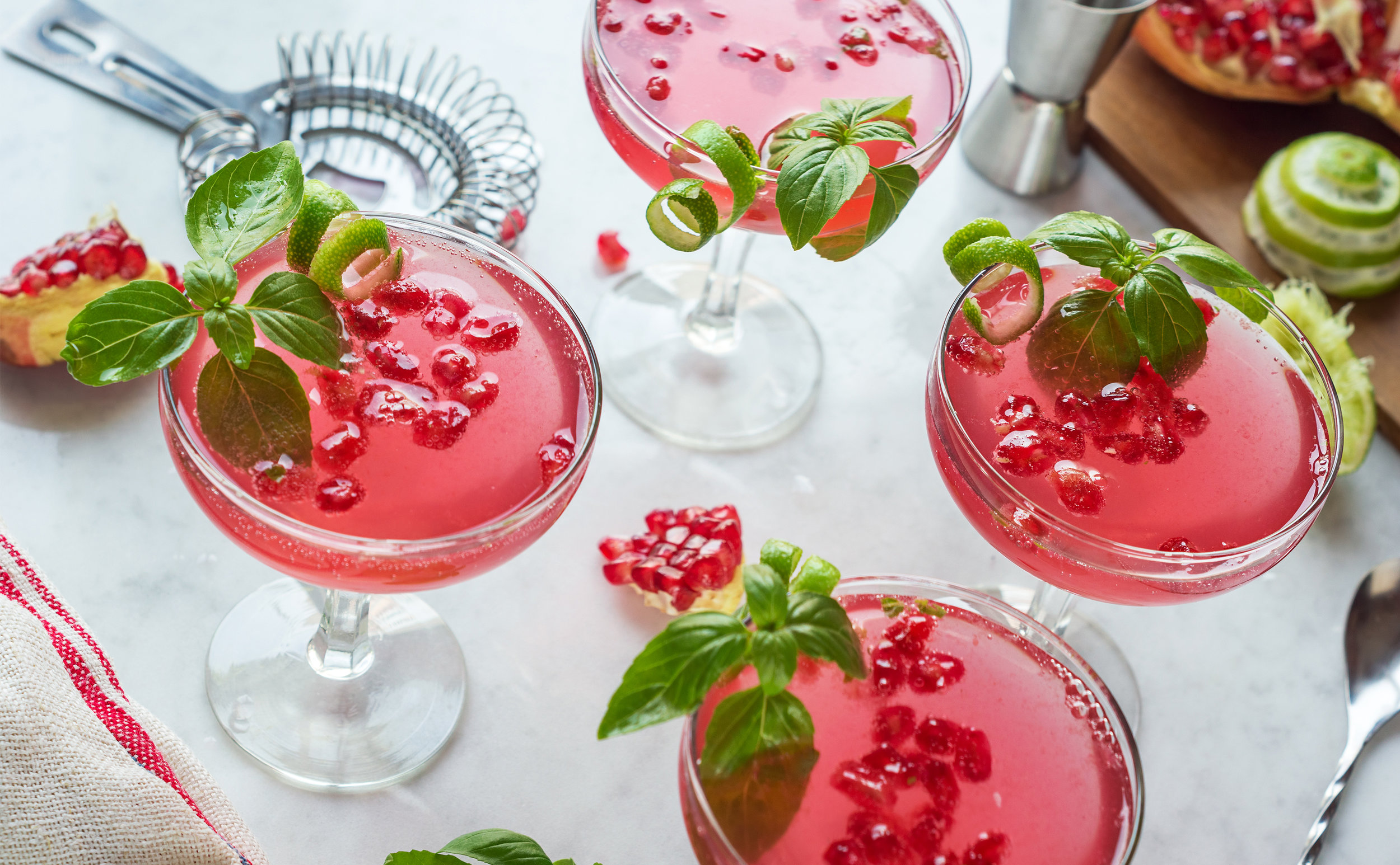 Pomegranate and Basil Martini