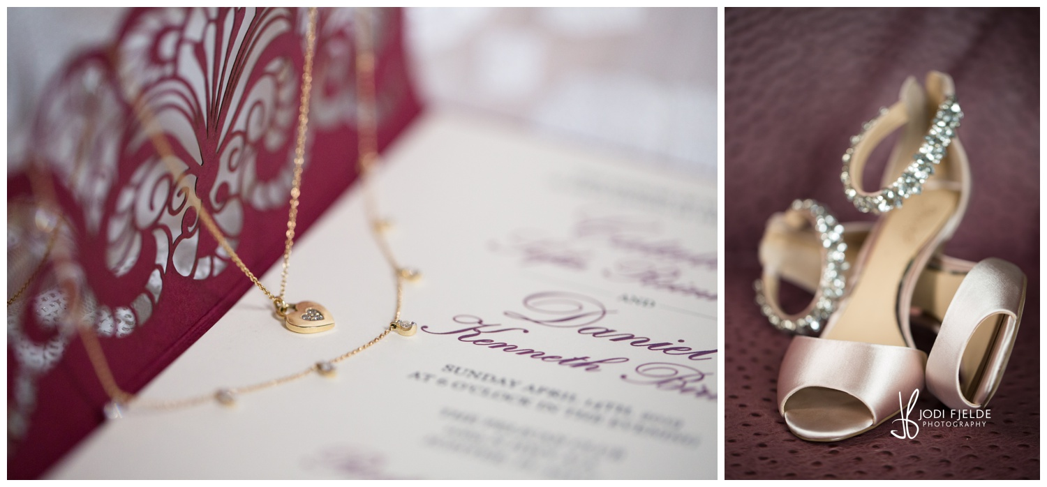 Beautiful bridal necklace with shoes displayed on wedding invitation