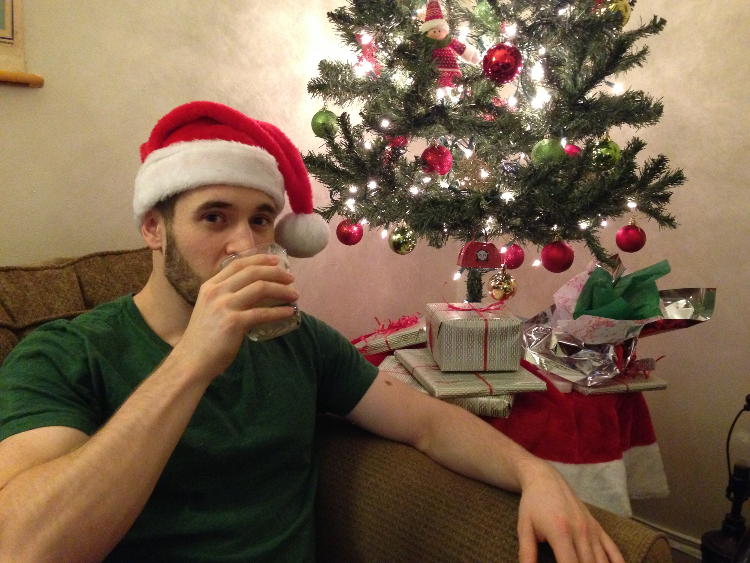 Sipping eggnog,giddy with Christmas cheer.