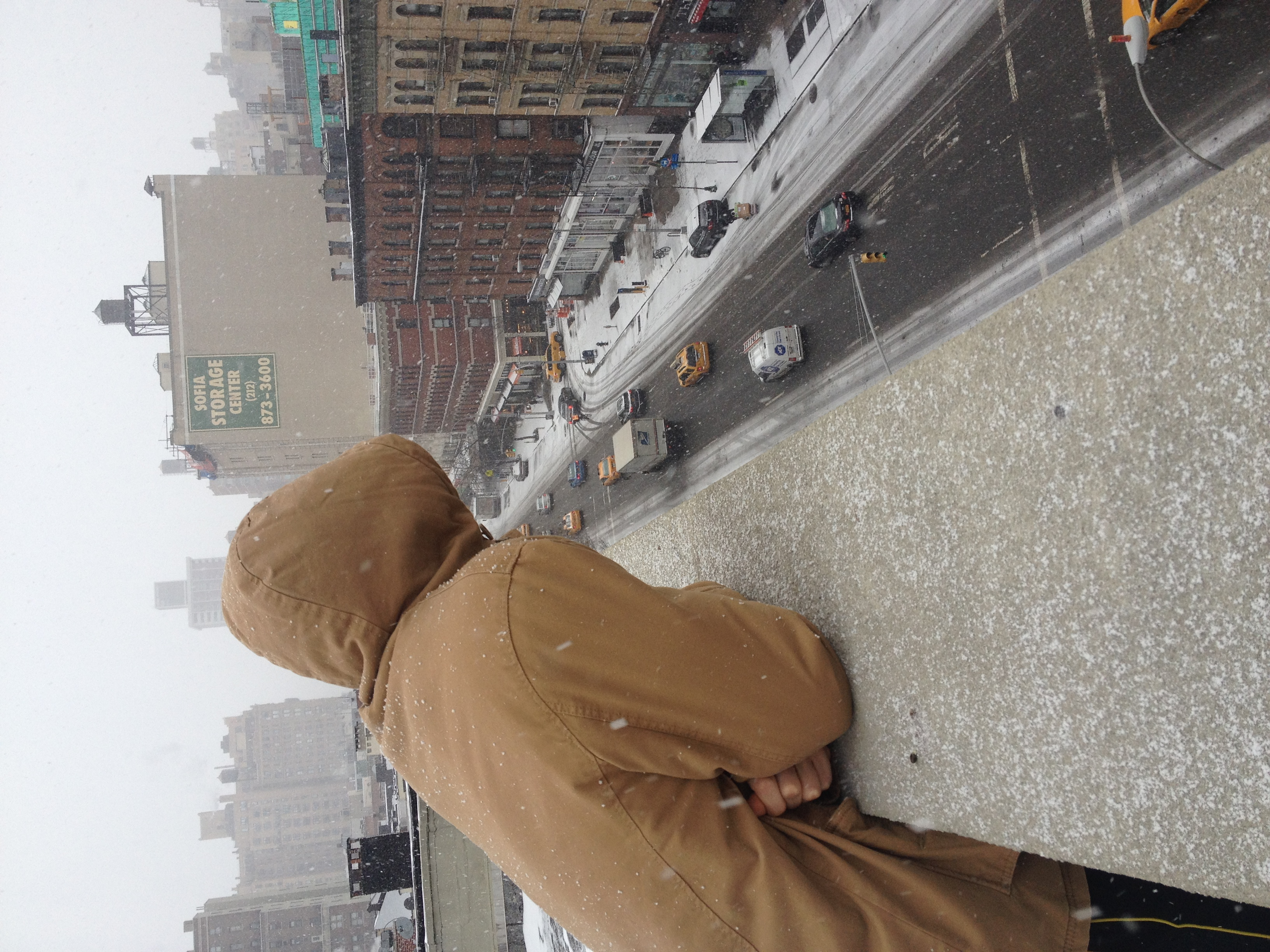 Looking down from my building rooftop on Amsterdam Ave.