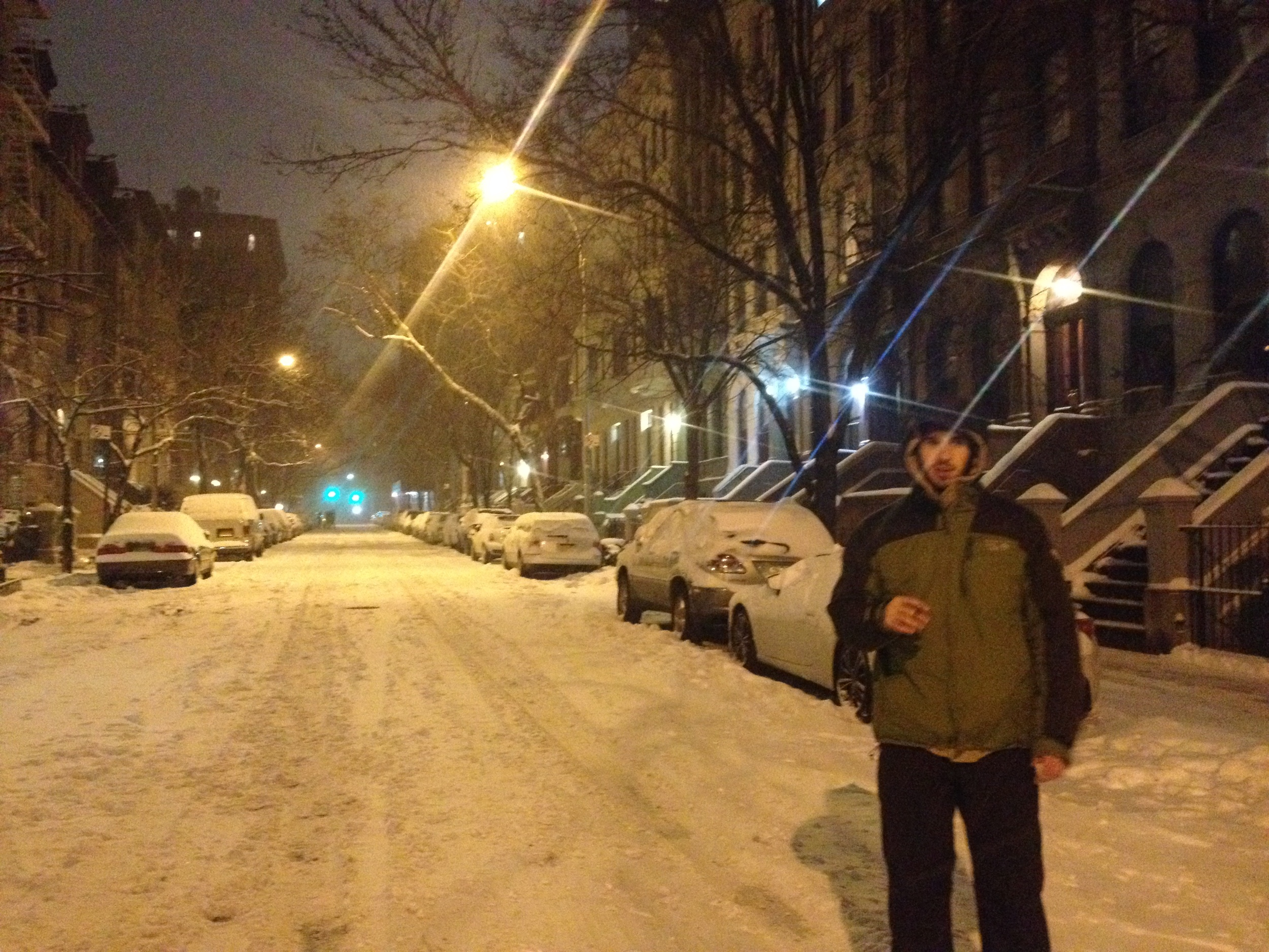 On a midnight walk through the empty,snow-covered streets in my neighborhood.