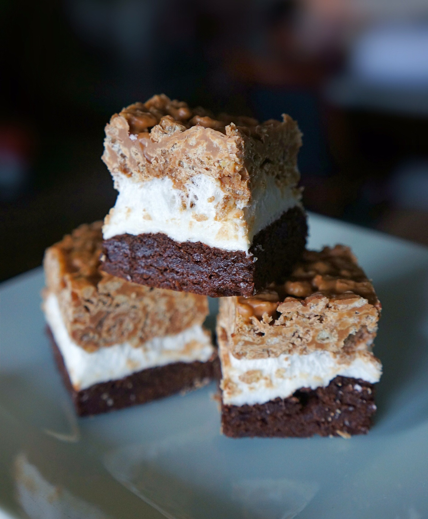 Peanut Butter Rice Krispie S'mores Brownies -