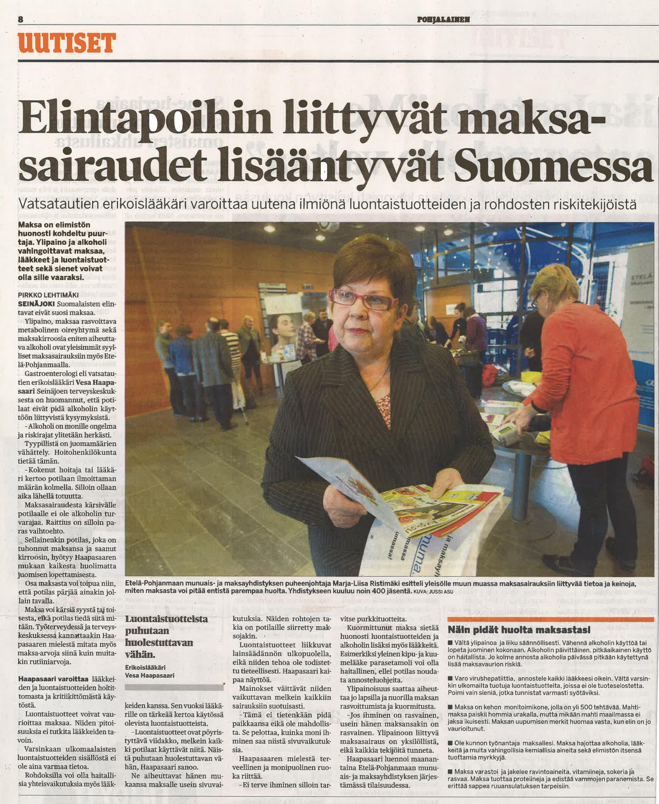 Epäasiallista ja virheellistä tietoa  Pohjalainen-lehdessä 6.5.