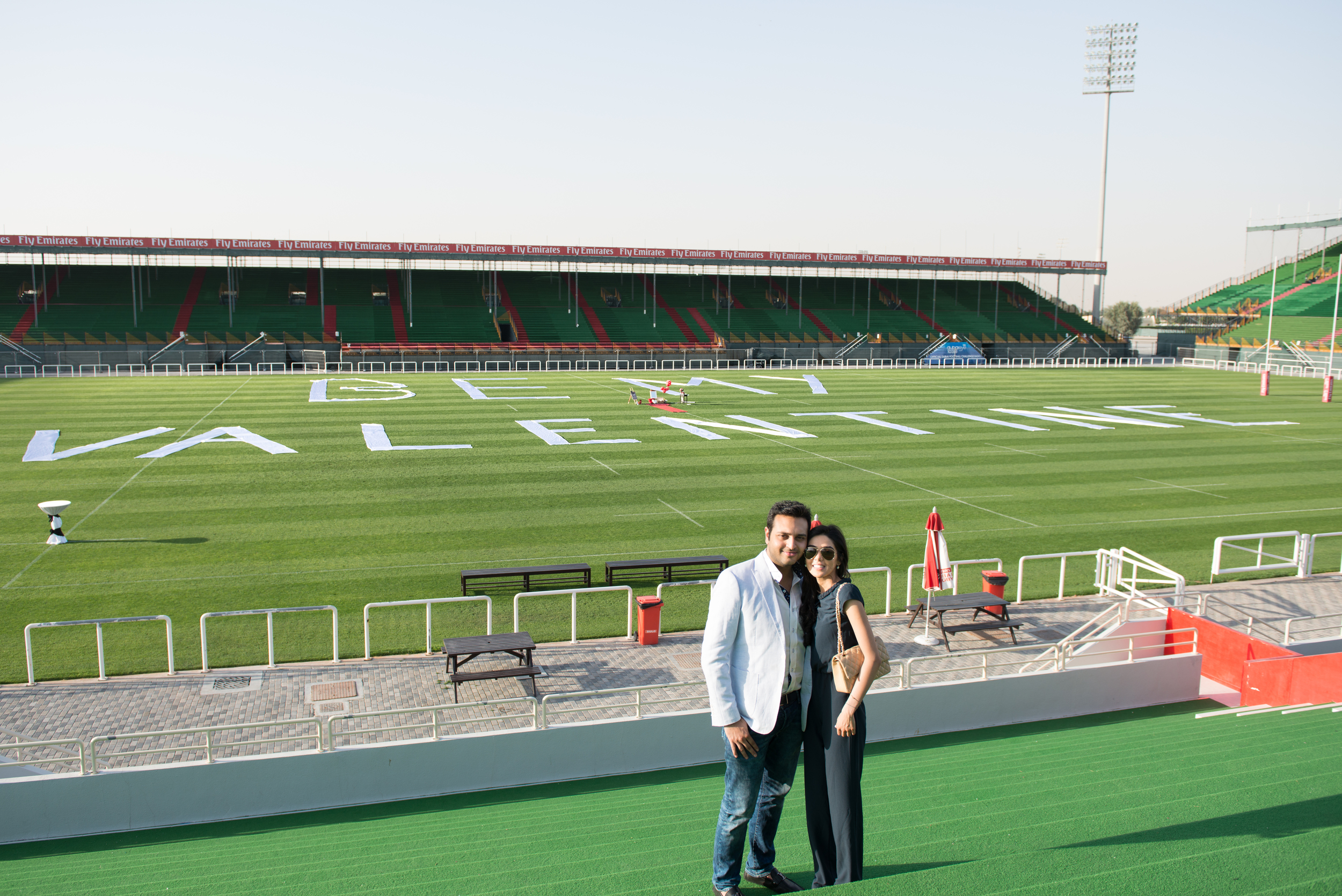 A Couple on a Football Field on Valentine's Day
