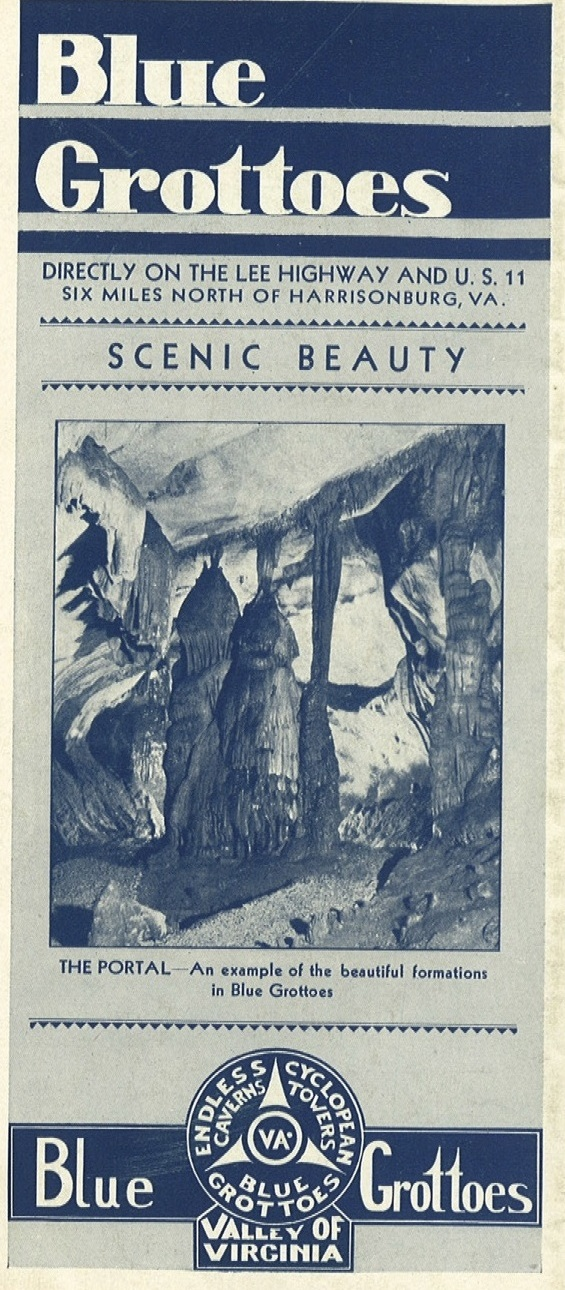 Brochure from Blue Grottoes (later named Melrose Caverns) circa 1930.