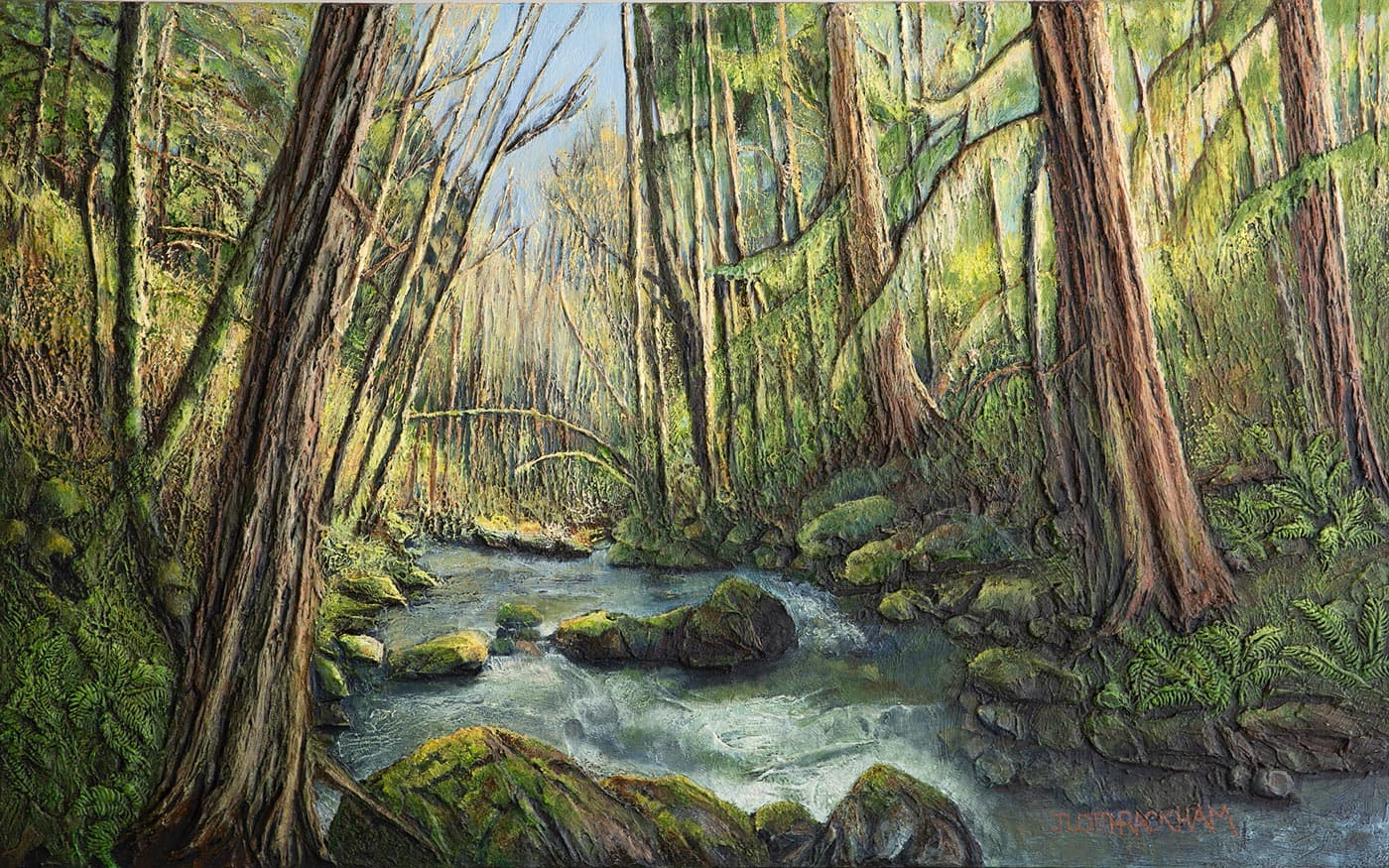 Forest Ferns  (Vancouver Island scene, British Columbia)  30 x 48 inches  Medium - Marble compound buildup on canvas, painted in oils.  Price $2520.00