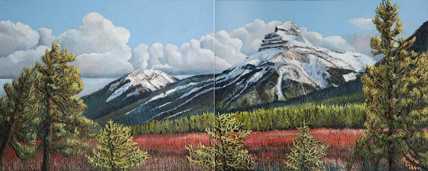 Red Osier Waits for Spring  (Mount Pilot - Bow River Valley of Banff National Park)  DYPTCH 2 canvases at 24 x 30 inches each  Medium - Marble compound buildup on canvas, painted in oils.  Price $ 2520.00