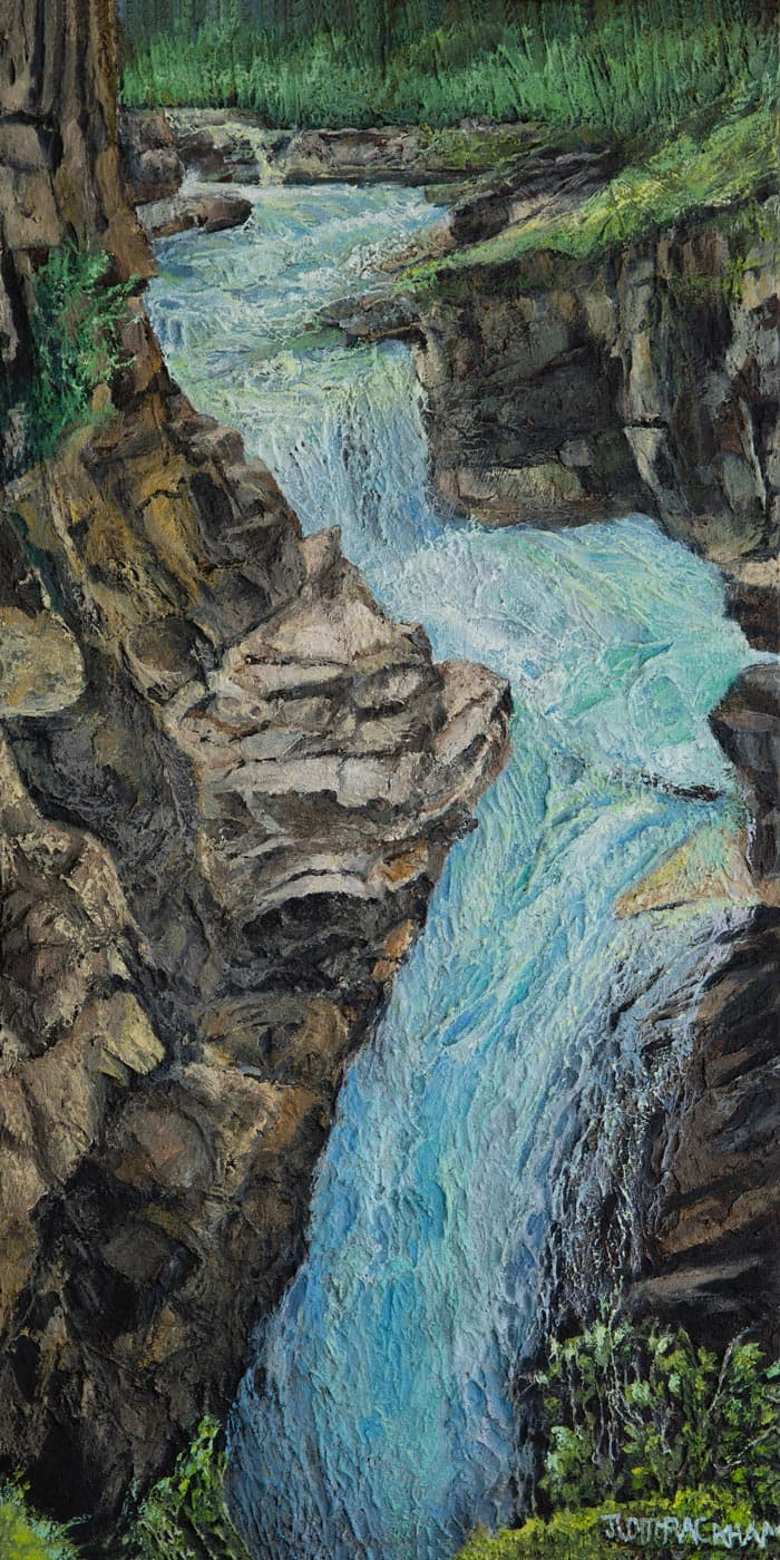 Rush  (Water falling in the Marble Canyon - British Columbia)  18 x 36 inches  Medium - Marble compound buildup on canvas, painted in oils  Price $1134.00