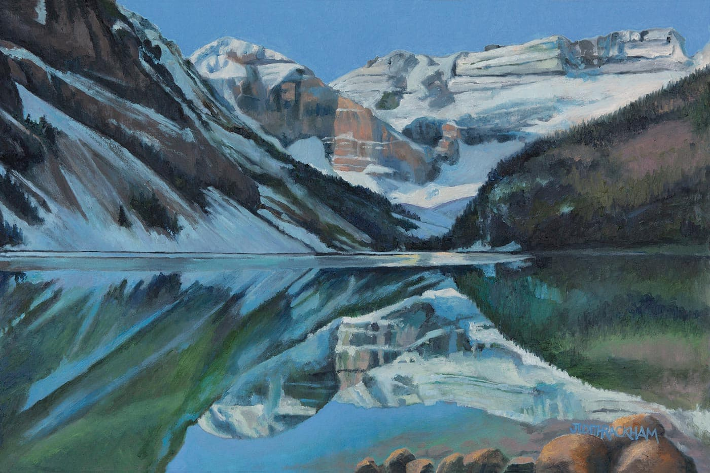 Sliver of Ice  (Iconic Lake Louise - Banff, Alberta)  24 x 36 inches  Medium - Canvas, painted in oils.  Price $1512.00