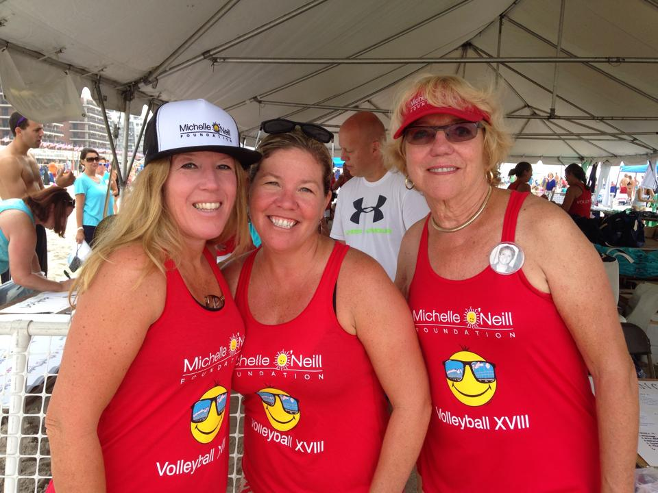 Caryl Ann, left, with her sister Jackie and mother Carol at the 18th Annual MON Foundation Volleyball Tournament.