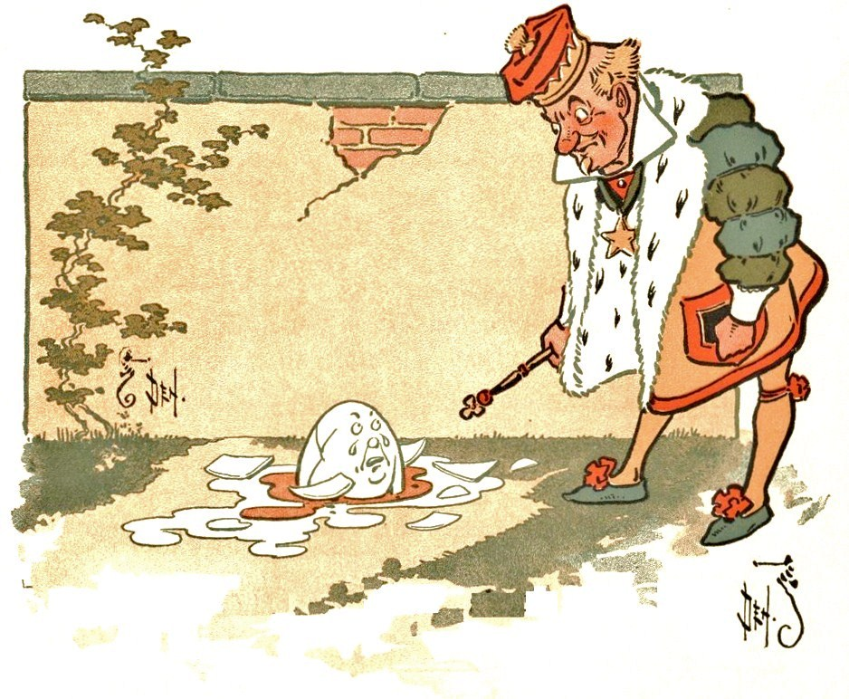 AN ILLUSTRATION FROM THE CHILDREN'S BOOK DENSLOW'S HUMPTY DUMPTY, PUBLISHED IN 1903. IMAGE VIA WIKIMEDIA COMMONS.