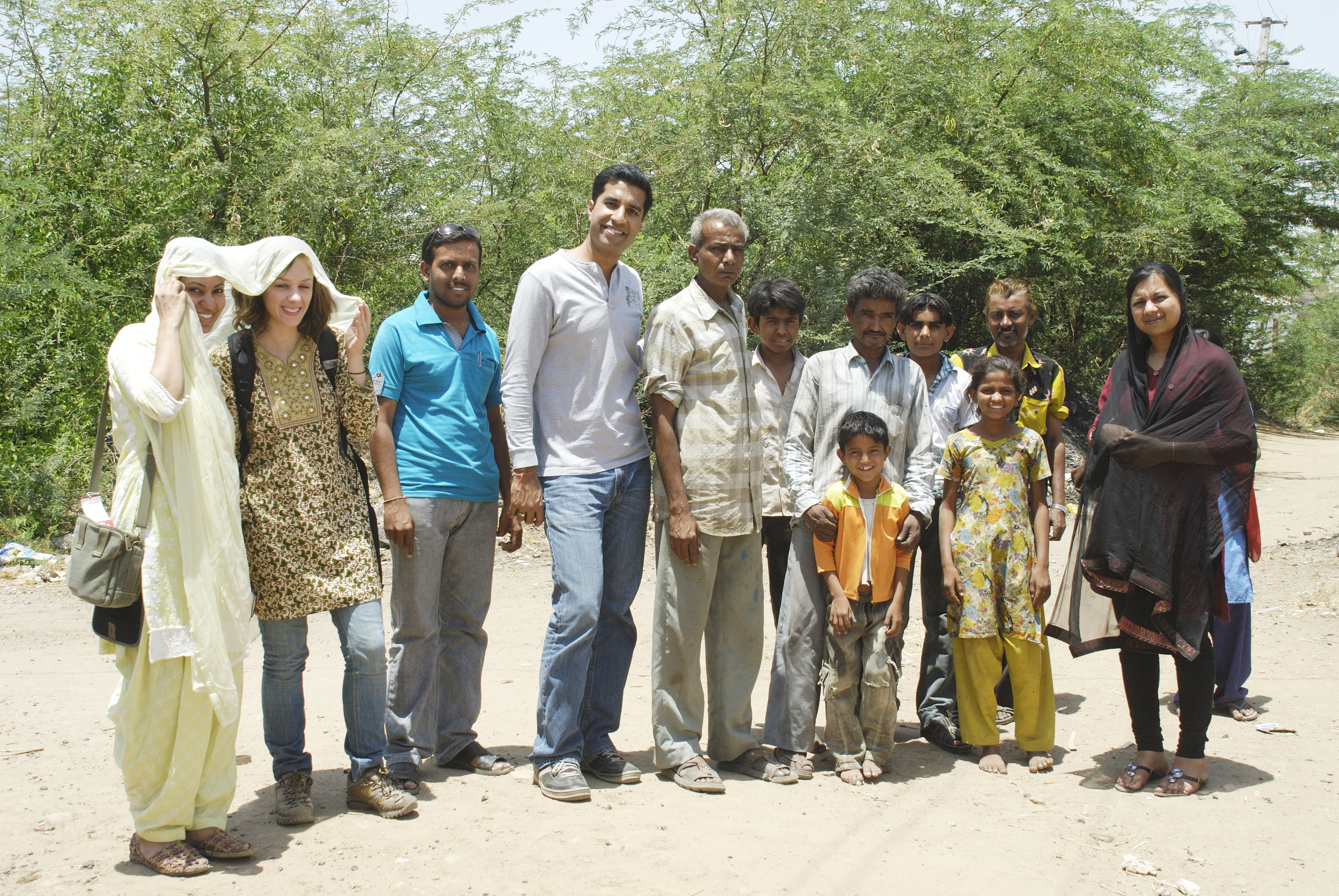 Bell making artisan family with Matr Boomie team members in NW India