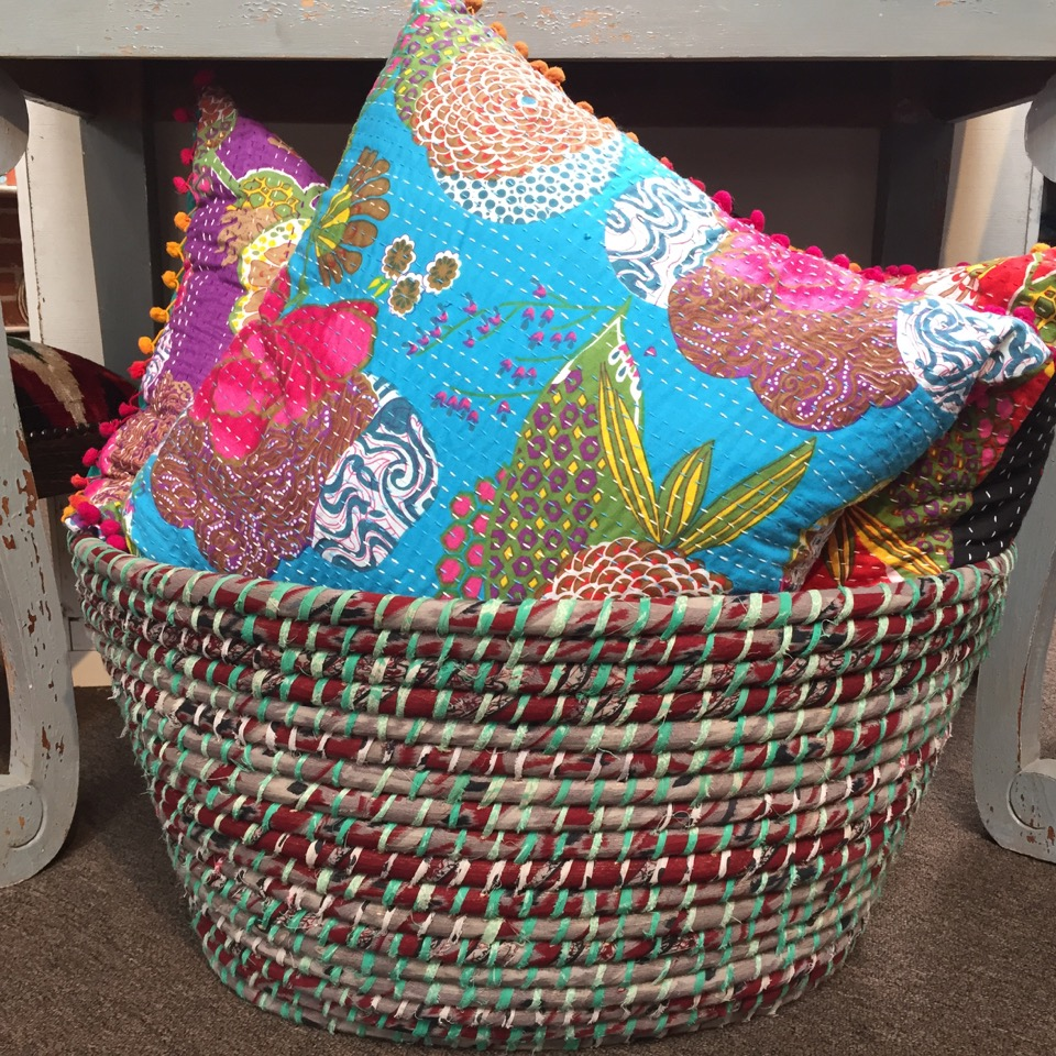 Fresh colors and vibrant displays bring Fair Trade Décor's retail space to life.