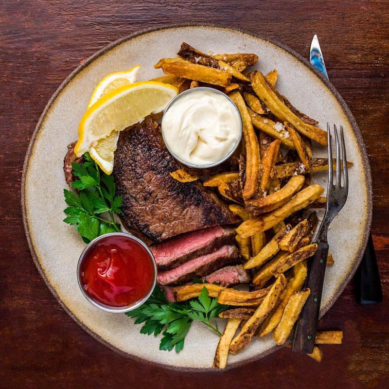 Dinner Plate - White Chamois - Steak and Fries - DennisThePrescott.jpg