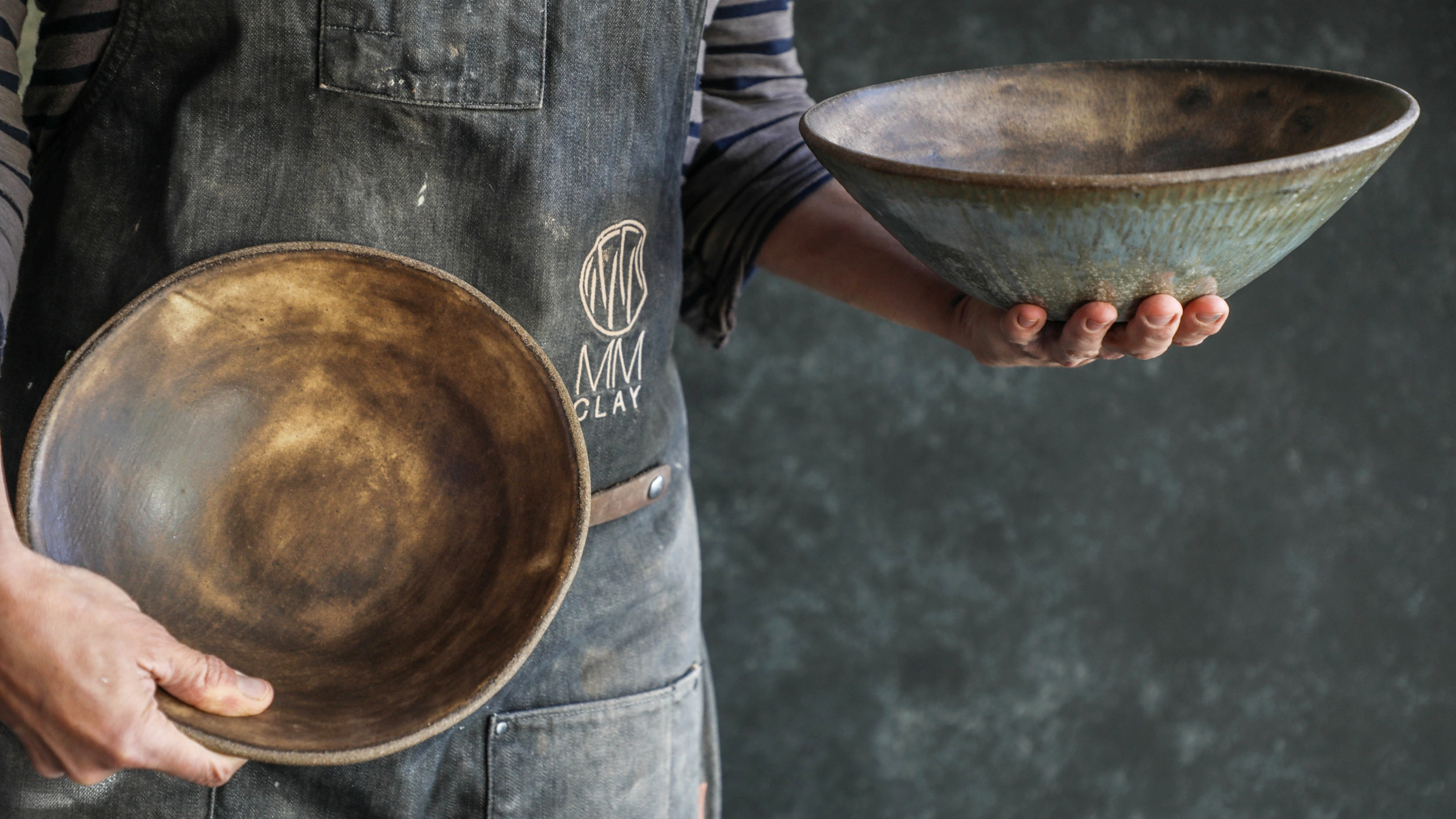 10%22 Serving Bowl (side view) and 9.75%22 Pasta Bowl (hands held) in Brown Leather matte - TPC(93 of 109).jpg
