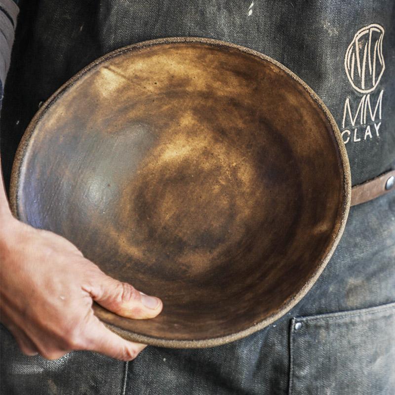 9.75%22 Pasta Bowl (hands held) in Brown Leather matte - TPC(93 of 109).jpg