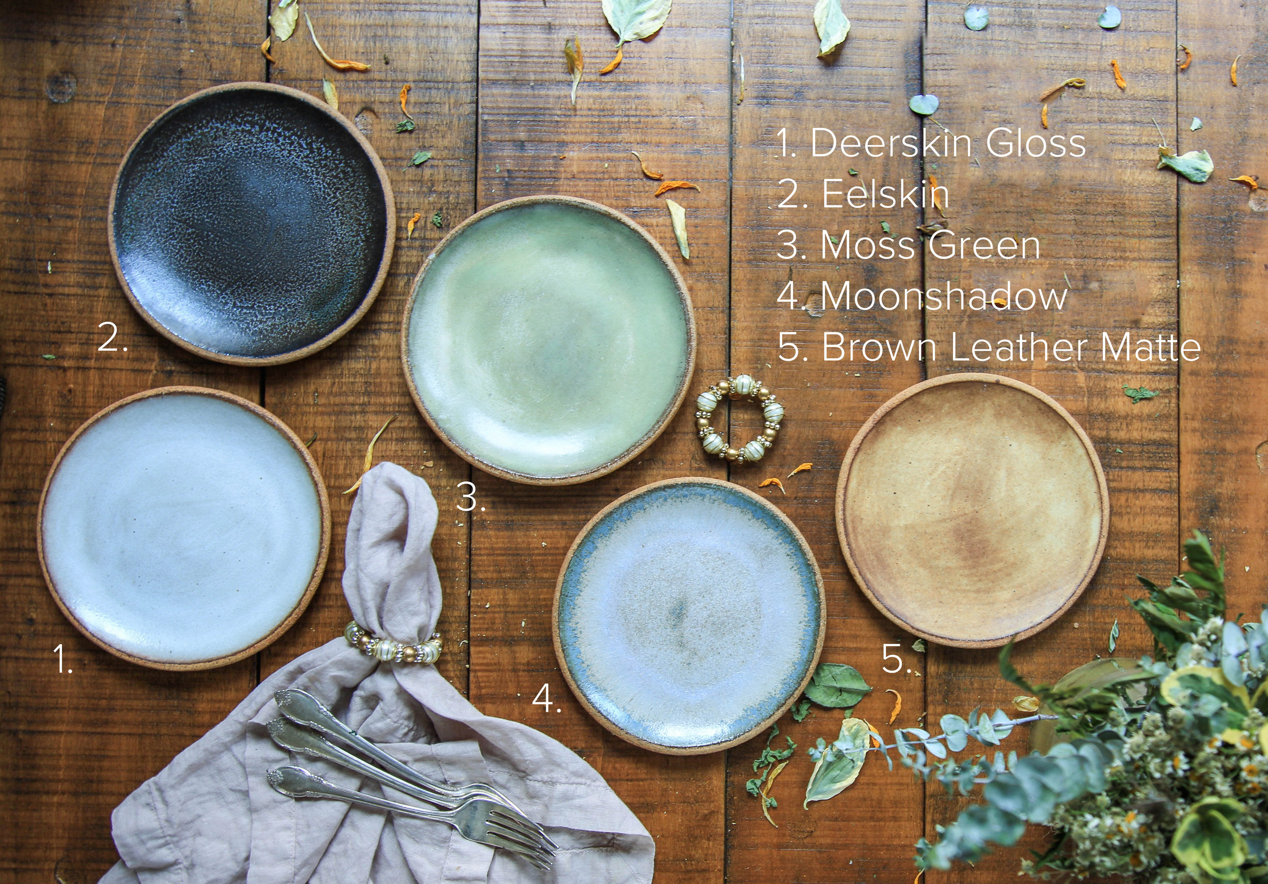Glaze Examples on Salad Plates