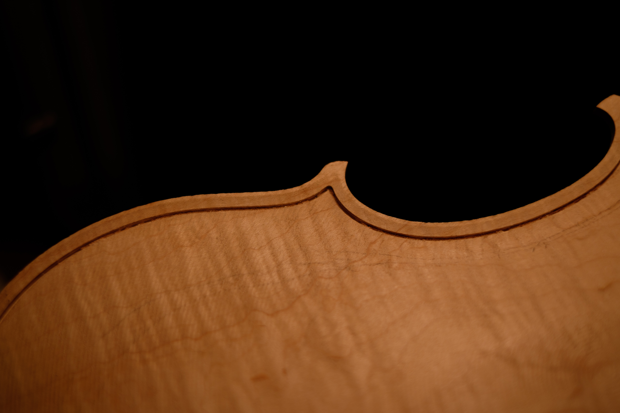Fully routed edge with purfling channel.