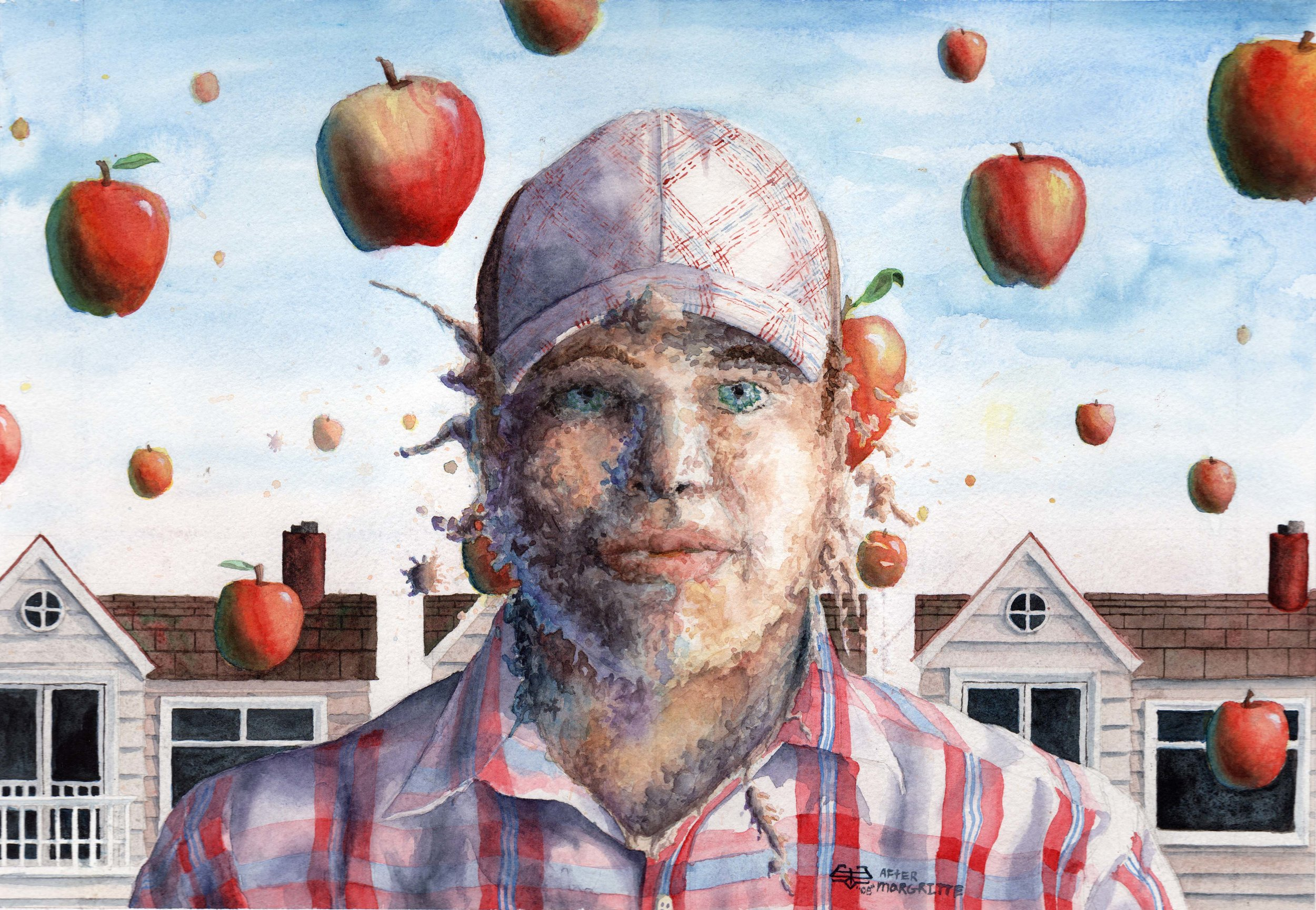 Not A Self Portrait of Rene Margritte                    Watercolor 2010