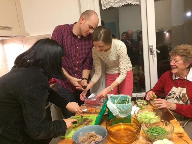 Teamwork on the Thai kitchen last Friday night.