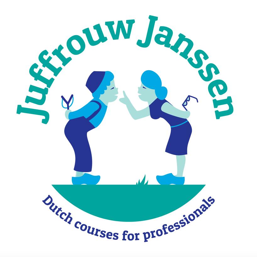 Juffrouw Janssen, een bedrijf dat Nederlands leert aan expats. In het logo is het iconische Hollandse beeld van een kussende boer en boerin omgebouwd naar een (stoute) leerling en (strenge) juffrouw.