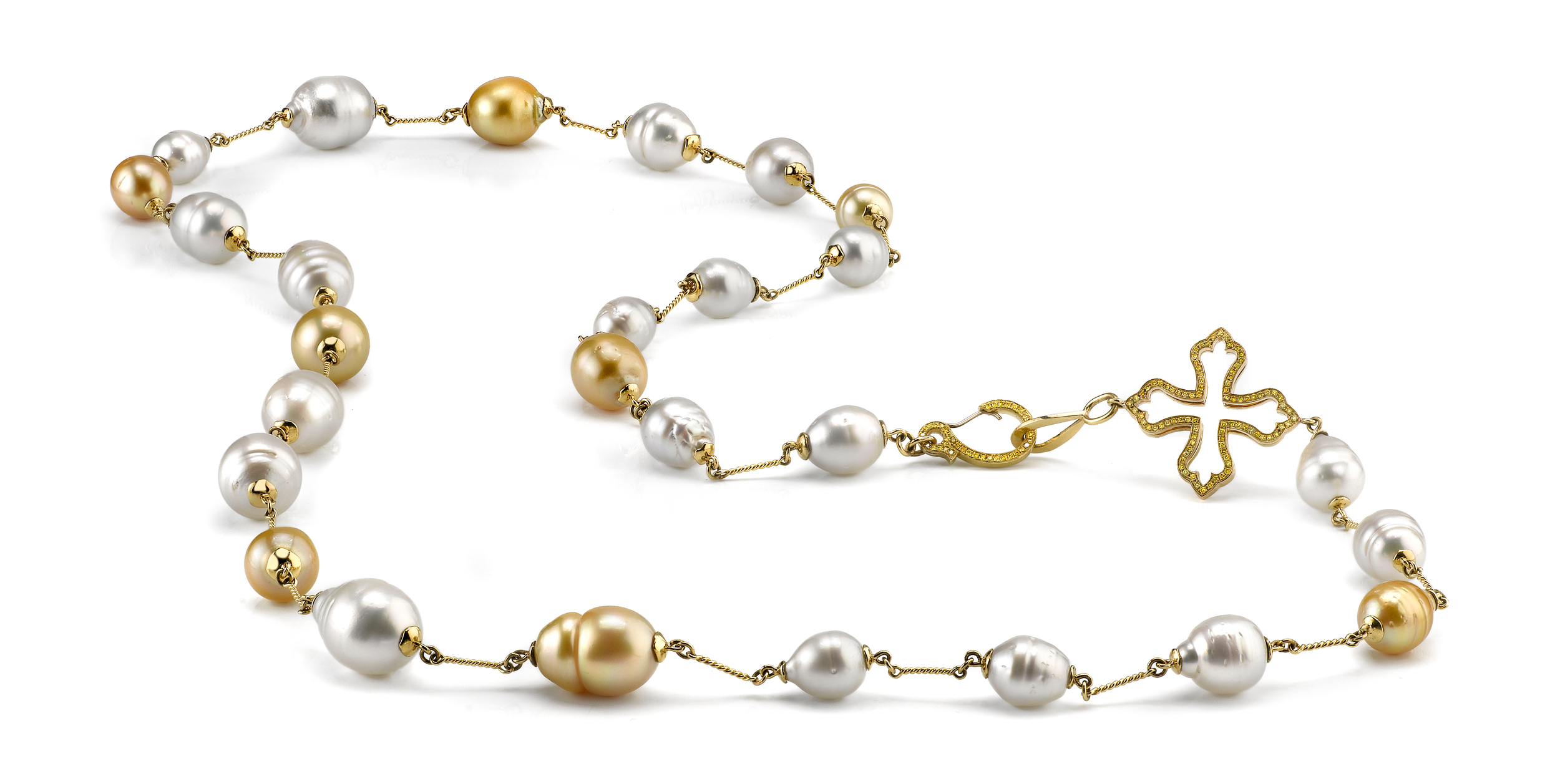 South Sea Pearl Necklace, 18 Karat Yellow Gold, accented with Vivid Yellow Diamonds