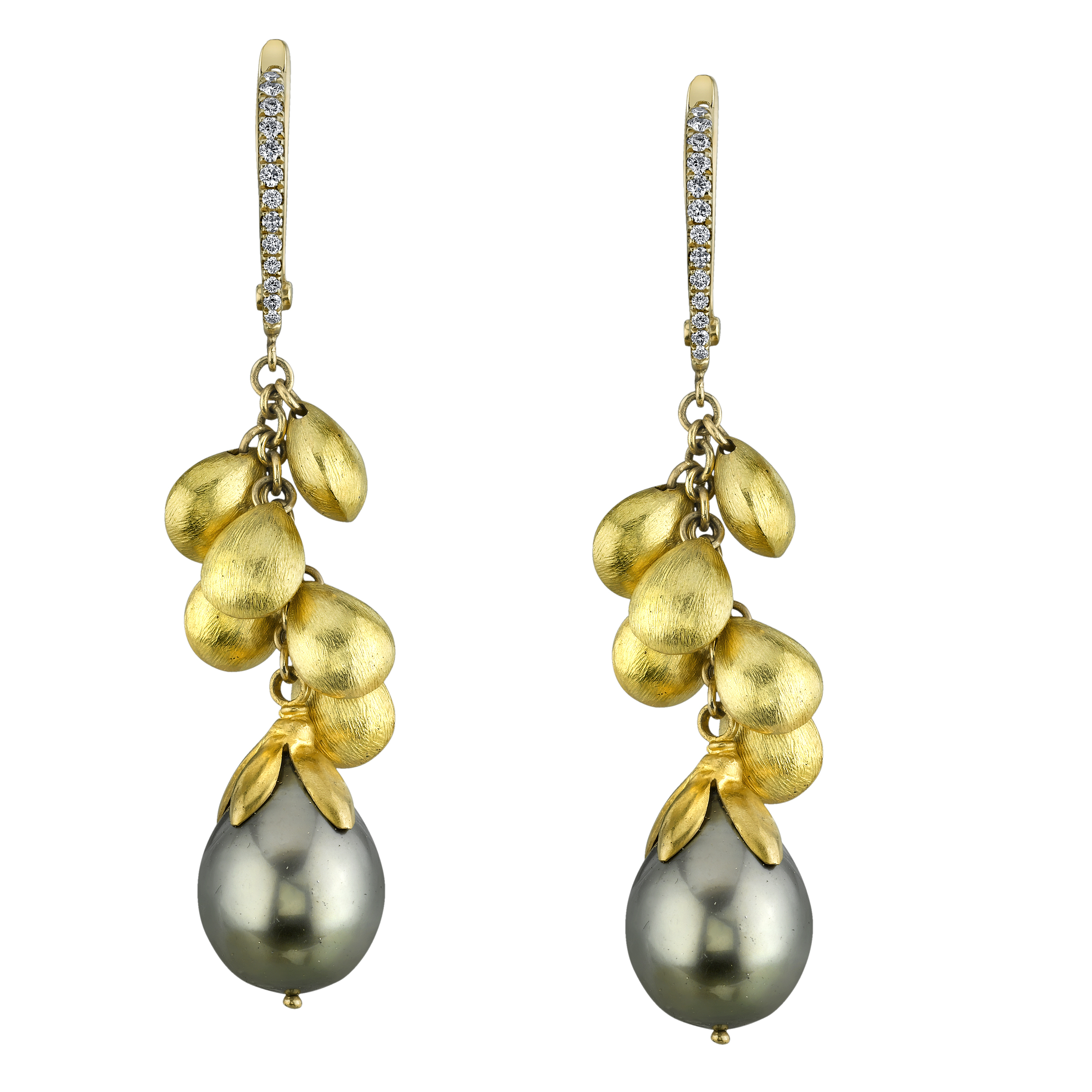 20 Karat Yellow Gold Black Tahitian Pearl Earrings, accented with Diamonds